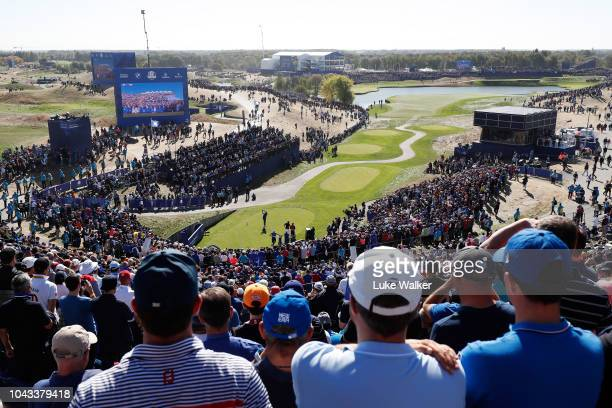 Ian Poulter of Europe plays his shot from the first tee during singles matches of the 2018 Ryder Cup at Le Golf National on September 30, 2018 in...