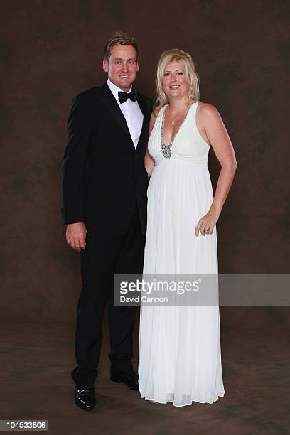 Ian Poulter of the European Ryder Cup team poses with his wife Katie prior to the 2010 Ryder Cup Dinner at the Celtic Manor Resort on September 29,...
