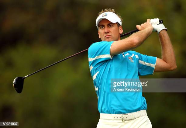Ian Poulter of the European team plays his tee shot on the fourth hole during the morning foursome matches on day two of the 2008 Ryder Cup at...