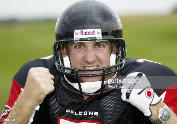 Ian Poulter poses for a photograph whilst dressed in the kit of quarterback Michael Vick of the Atlanta Falcons September 24, 2003 at St. Andrews,...