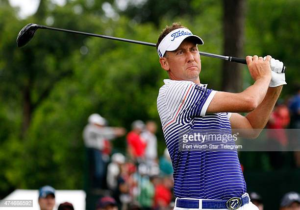 Ian Poulter watches his shot on the third tee during the Crowne Plaza Invitational at Colonial on Sunday, May 24 in Fort Worth, Texas.