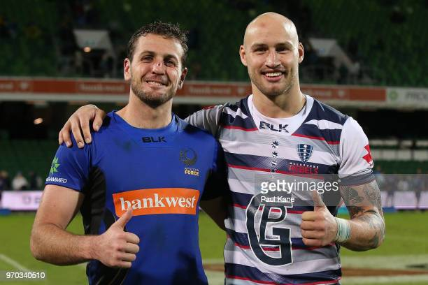 Ian Prior of the Force and Billy Meakes of the Rebels pose following the World Series Rugby match between the Force and the Rebels at nib Stadium on...