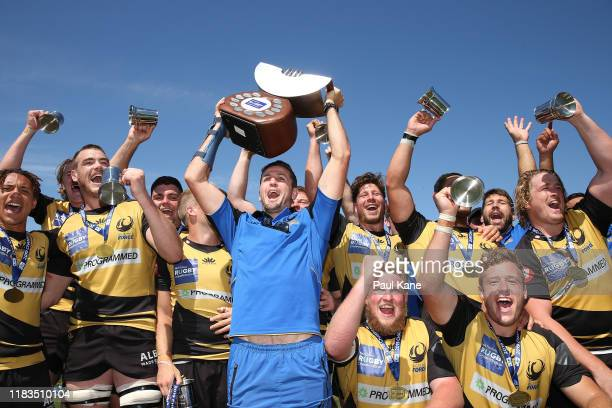 Ian Prior of the Force holds the trophy aloft after winning the NRC Final between the Western Force and Canberra Vikings at the University of Western...