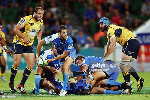Ian Prior of the Western Force passes the ball from the ruck during the round three Super Rugby match between the Western Force and the Brumbies at...