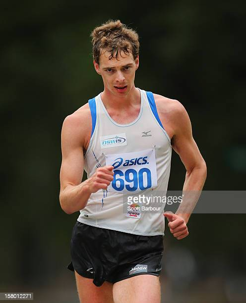 Ian Rayson of NSWIS competes in the Mens 50000 metre Race Walk Championship Open during the 50km race walking championships at Fawkner Park on...
