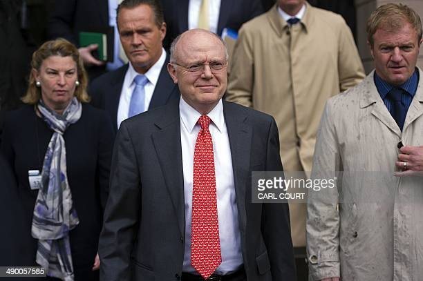 Ian Read Chairman and Chief Executive of US drugs giant Pfizer leaves after giving evidence before the Business Innovation and Skills Committee at...