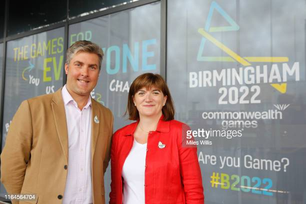 Ian Reid CEO Birmingham 2022 Commonwealth Games poses with Nicky Morgan Secretary of State for Digital Culture Media and Sport during the Birmingham...
