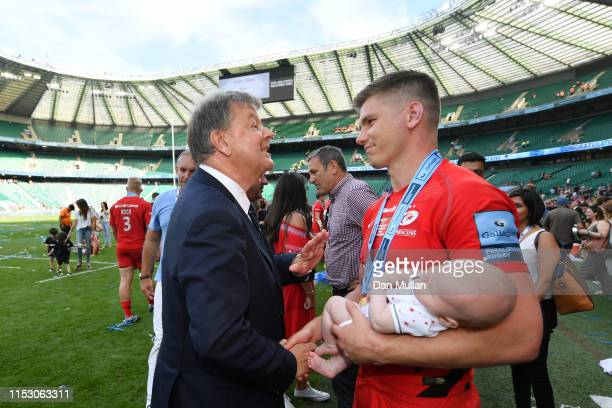 Ian Ritchie Chairman of Premiership Rugby talks with Owen Farrell of Saracens following the Gallagher Premiership Rugby Final between Exeter Chiefs...