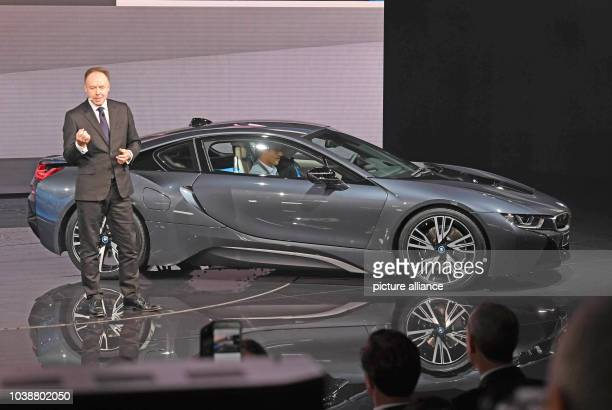 Ian Robertson, Chairman of Sales and Marketing at BMW, presenting a special edition of the e-sportscar BMW i8 during the first press day at the Paris...