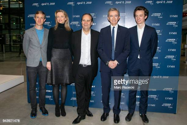 Ian Rogers Delphine Arnault Xavier Niel Bernard Arnault and Frederic Arnault attend the 'LVMH StartUp Accelerator' opening ceremony at 'Station F' on...