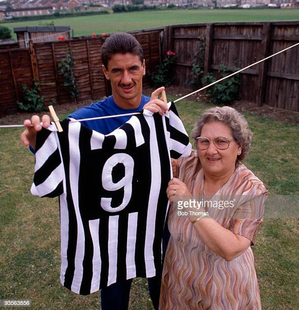 Ian Rush and his mother Dot hanging out his Juventus FC shirt at home near Chester England on 15th July 1986