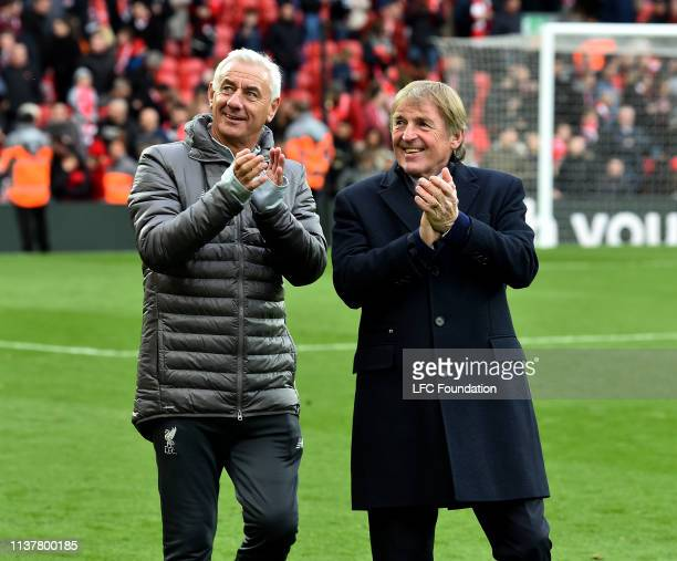 Ian Rush and Kenny Dalglish of Liverpool FC Legends showing his appreciation to the fans at the end of the friendly match between Liverpool FC...