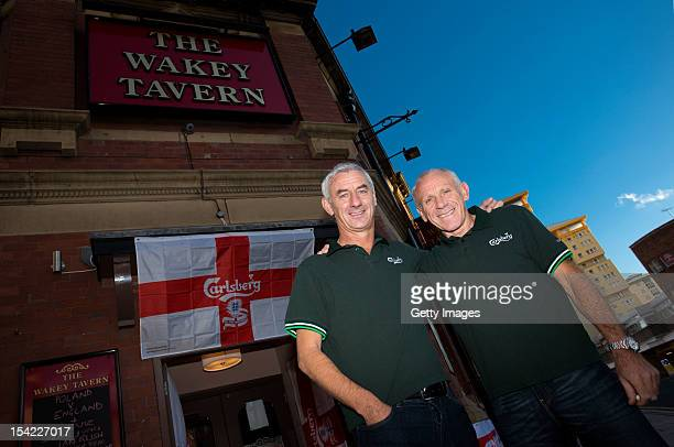 Ian Rush and Peter Reid pose for photos during the Carlsberg Ultimate Legends Pub Experience at The Wakey Tavern on October 16 2012 in Wakefield...