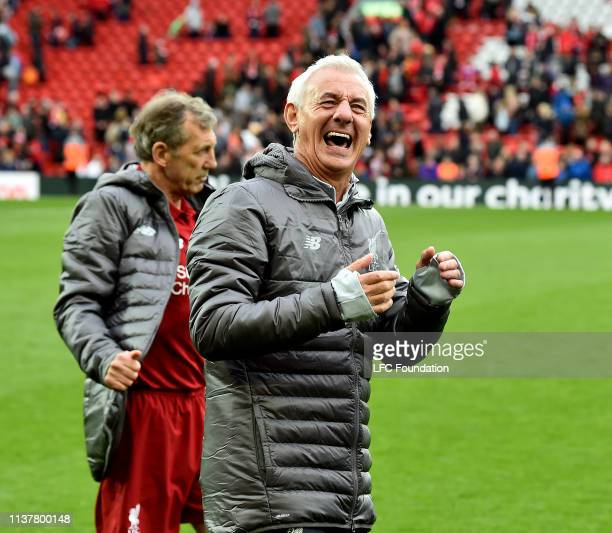 Ian Rush of Liverpool FC Legends showing his appreciation to the fans at the end of the friendly match between Liverpool FC Legends and AC Milan...