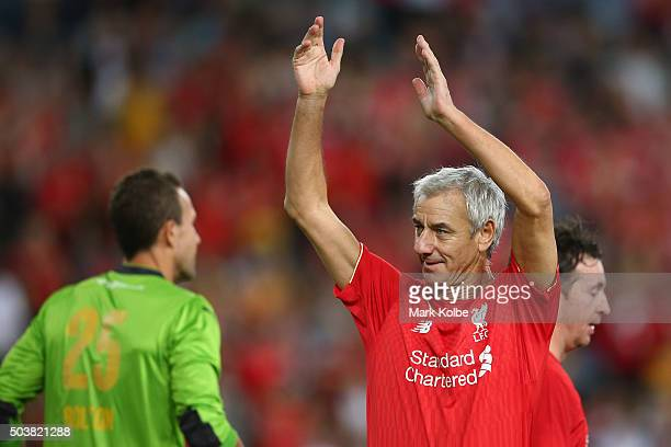 Ian Rush of the Liverpool FC Legends applauds the crowd as he celebrates scoring a goal during the match between Liverpool FC Legends and the...