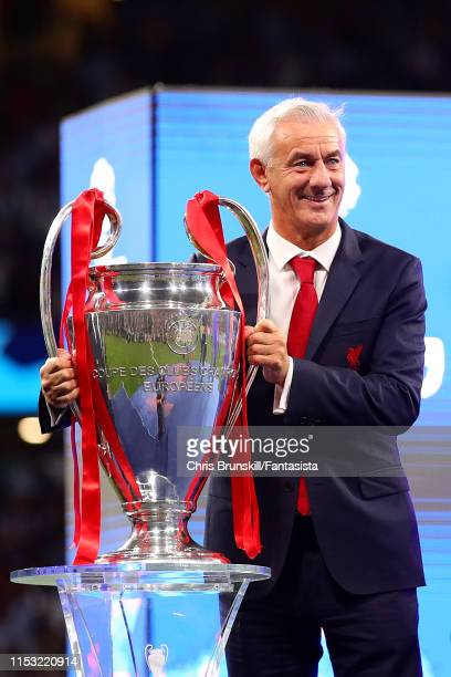 Ian Rush poses with the trophy following the UEFA Champions League Final between Tottenham Hotspur and Liverpool at Estadio Wanda Metropolitano on...