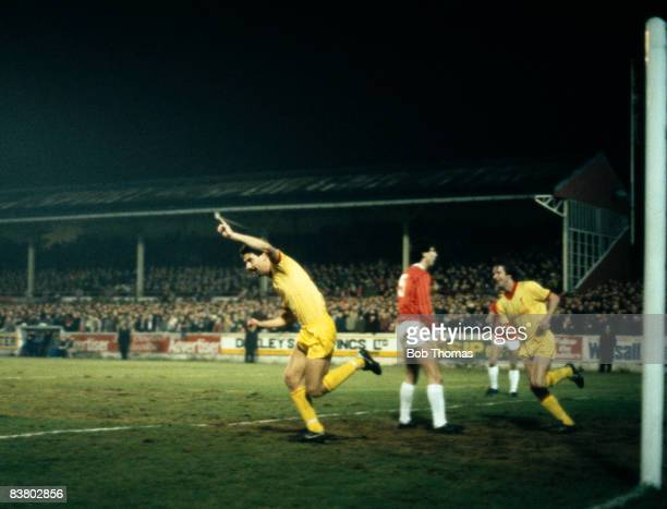 Ian Rush runs away to celebrate after scoring Liverpool's first goal against Walsall in the League Cup SemiFinal 2nd leg sponsored by the Milk...