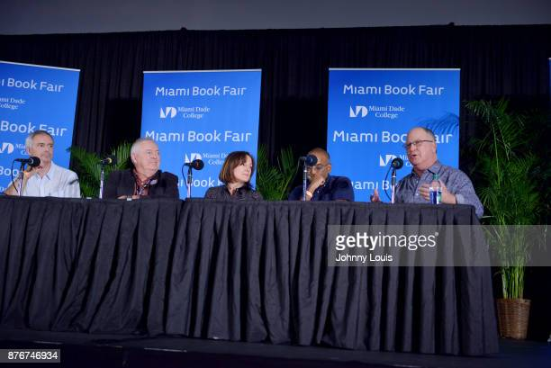 Ian Sharples Les Standiford Paula Mazur Bharat Nalluri and Robert Mickelson attend The Miami Book Fair at Miami Dade College Wolfson Chapman...