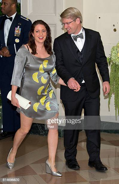 Ian Simmons CoFounder Principal Blue Haven Initiative and Liesel Simmons arrives for the State Dinner in honor of Prime Minister Trudeau and Mrs...