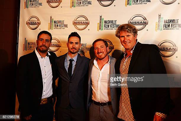 "Ian Simon, Ryan Lacen, Anthony Balding, and Justin bundy of the film ""The Dust Storm"" attends the 2016 Nashville Film Festival at Regal Green Hills..."