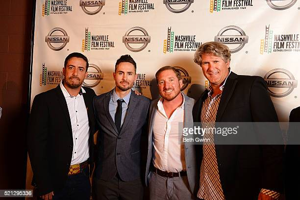 "Ian Simon, Ryan Lacen, Anthony Baldino, and Justin Bundy of the film ""The Dust Storm"" attends the 2016 Nashville Film Festival at Regal Green Hills..."