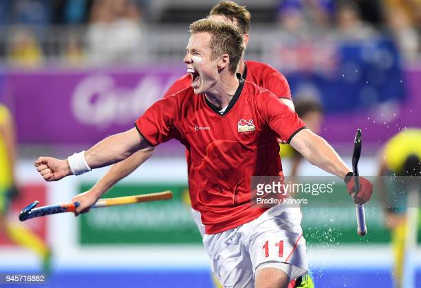 Ian Sloan of England celebrates scoring a goal in the semi final match between Australia and England during Hockey on day nine of the Gold Coast 2018...
