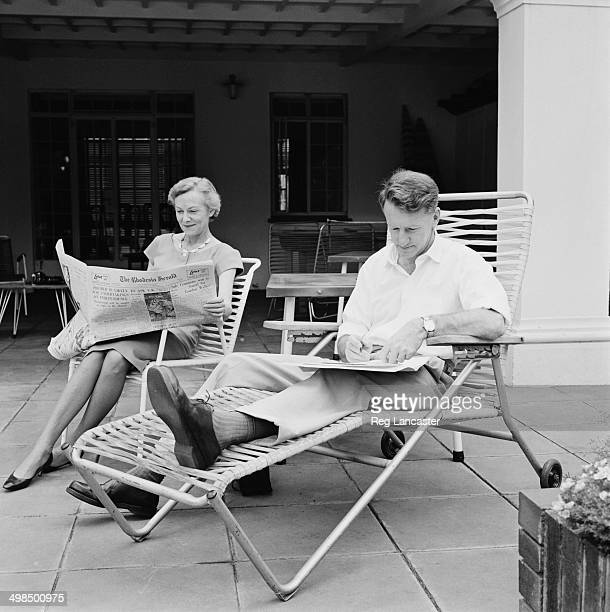 Ian Smith the Prime Minister of Rhodesia and his wife Janet relax at their home in a suburb of Salisbury the capital of Southern Rhodesia November...