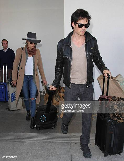 Ian Somerhalder and Nikki Reed are seen at LAX on April 05 2016 in Los Angeles California