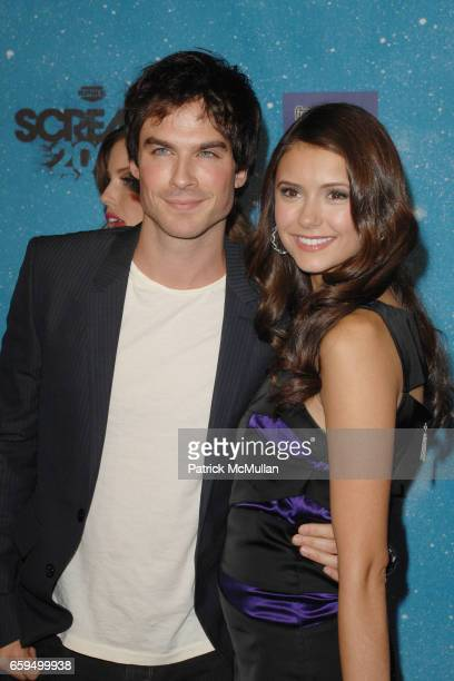 Ian Somerhalder and Nina Dobrev attend SPIKE TV'S 'SCREAM 2009' at The Geek Theatre on October 17 2009 in Los Angeles CA