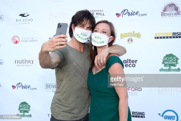 Ian Somerhalder and Rebecca Harrell Tickell attend a Special DriveIn Screening of KISS THE GROUND available on Netflix September 22 2020
