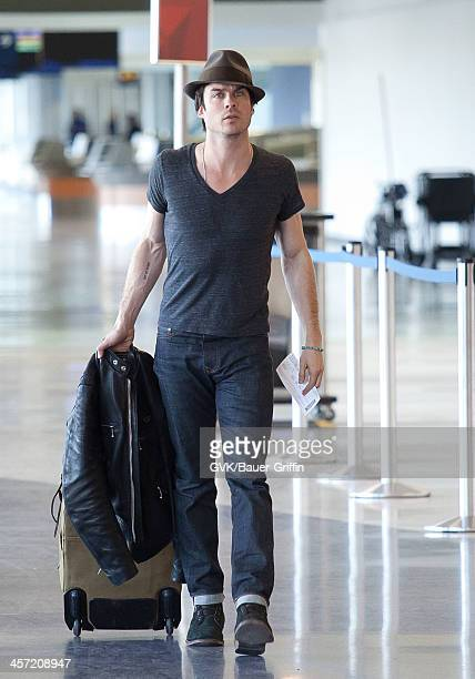 Ian Somerhalder is seen arriving at LAX airport on December 16 2013 in Los Angeles California
