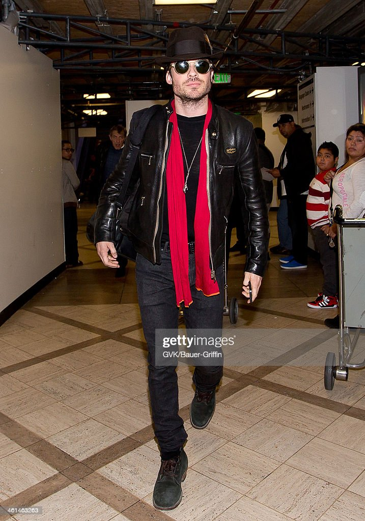 Ian Somerhalder is seen at LAX airport on January 08, 2014 in Los Angeles, California.