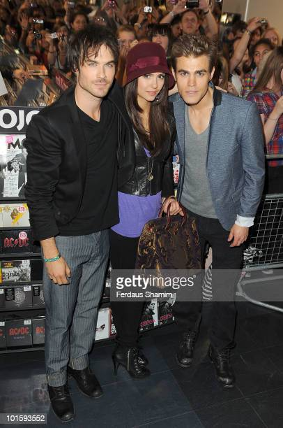 Ian Somerhalder Nina Dobrev and Paul Wesley attend a fan meet and greet for the cast of 'The Vampire Diaries' at HMV Oxford Street on June 3 2010 in...