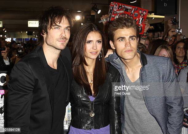 The vampire diaries cast meet fans at hmv stock photos and pictures ian somerhalder nina dobrev and paul wesley attend a fan meet and greet for the cast m4hsunfo