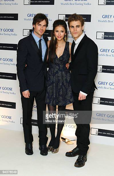 Ian Somerhalder Nina Dobrev and Paul Wesley attend the Grey Goose Character Cocktails winter fundraiser in aid of the Elton John AIDS Foundation at...