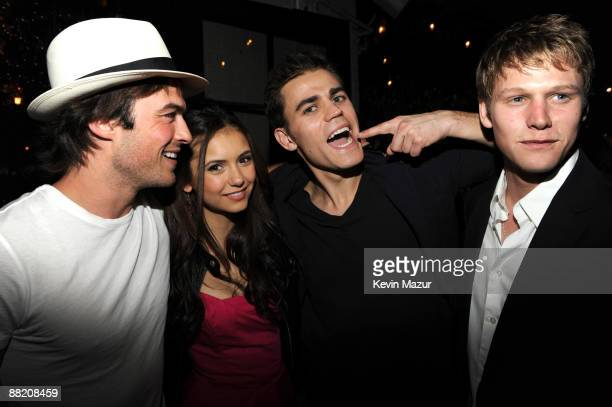 NEW YORK MAY 21 *EXCLUSIVE* Ian Somerhalder Nina Dobrev and Paul Wesley attends the CW Network's 2009 Upfront party at Gramercy Park Hotel on May 21...