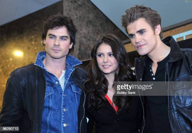 """Ian Somerhalder, Nina Dobrev and Paul Wesley from """"The Vampire Diaries"""" visits Hot Topic at Garden State Plaza on January 30, 2010 in Paramus, New..."""