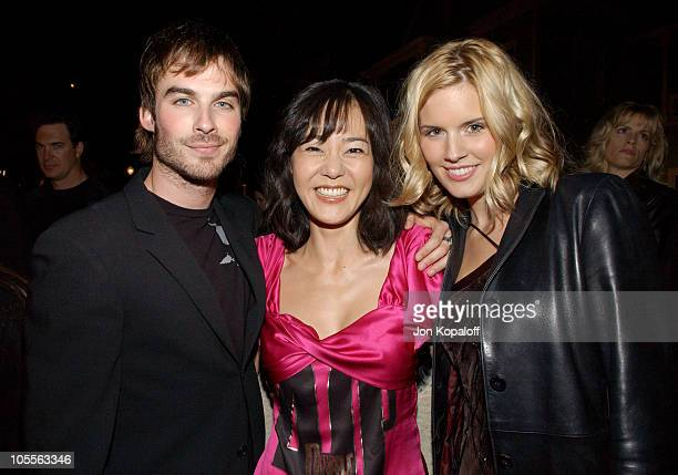 Ian Somerhalder Yoonjin Kim and Maggie Grace during 2005 ABC Winter Press Tour Party Inside at Universal Studios in Universal City California United...
