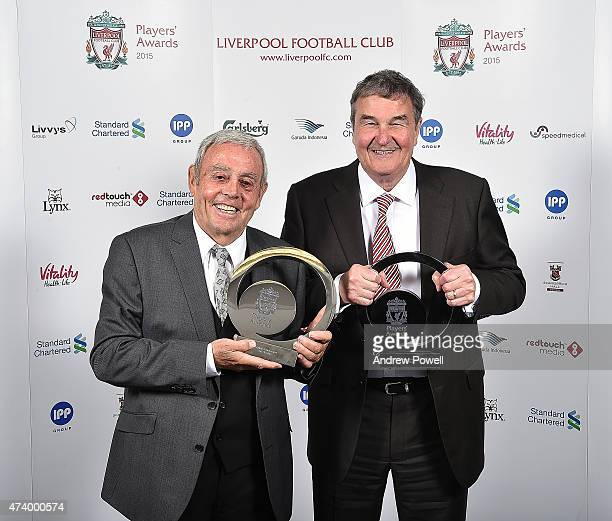 Ian St John and Ron Yeats former players of Liverpool pose for a photograph after winning the Lifetime Achievement Award during the Liverpool Player...