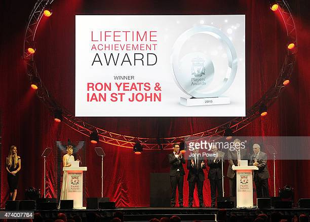Ian St John and Ron Yeats former players of Liverpool winning the Lifetime Achievement Award during the Liverpool Player of the Year Awards on May 19...
