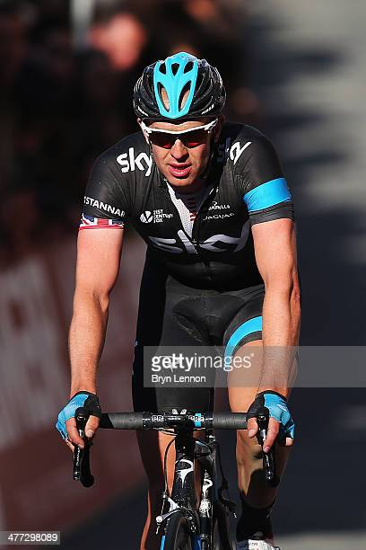 Ian Stannard of Great Britain and Team SKY crosses the finishline during the 2014 Strade Bianchi from to San Gimignano to Siena ll Campo on March 8...