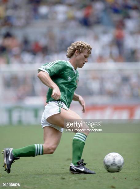 Ian Stewart in action for Northern Ireland during the FIFA World Cup match between Northern Ireland and Brazil at the Estadio Jalisco in Guadalajara...