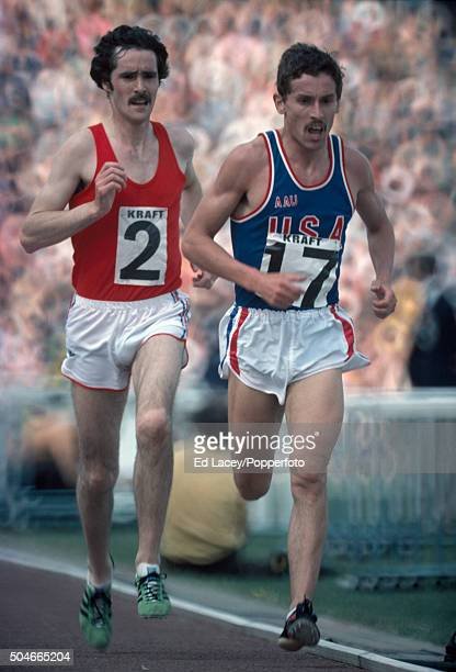 Ian Stewart leads David Black in the men's 5000 metres event during the Olympic trials at Crystal Palace in London on 5th June 1976
