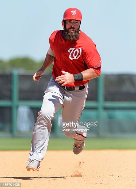 Ian Stewart of the Washington Nationals runs the bases during the Spring Training game against the Detroit Tigers at Joker Marchant Stadium on March...
