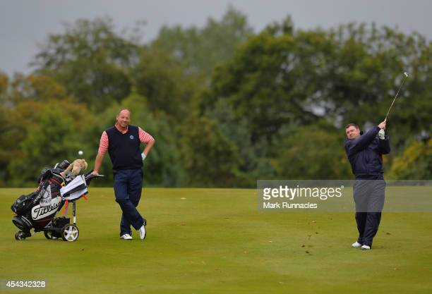 Ian Taylor of Drumpellier Golf Club watches playing partner Charles Clark during the Golfplan Insurance PGA ProCaptain Challenge Scotland Regional...