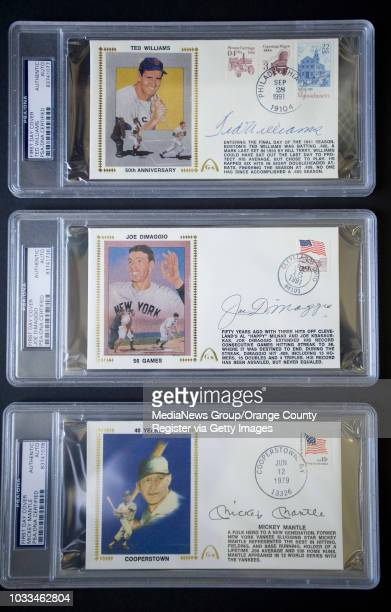 Ian Taylor's autographed rare collectors First Day Covers include Ted Williams top Joe DiMaggio and Mickey Mantle ///ADDITIONAL INFO Photo by MINDY...