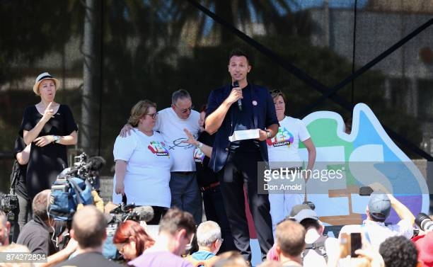 Ian Thorpe addresses people post result announcement on November 15 2017 in Sydney Australia Australians have voted for marriage laws to be changed...