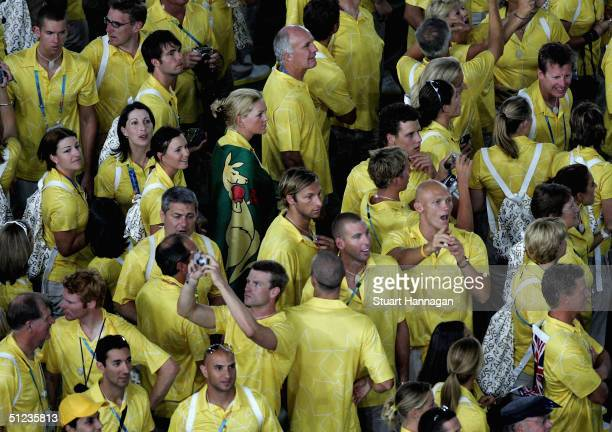 Ian Thorpe and Grant Hackett of Australia attend the closing ceremony of the Athens 2004 Summer Olympic Games on August 29 2004 at the Sports Complex...