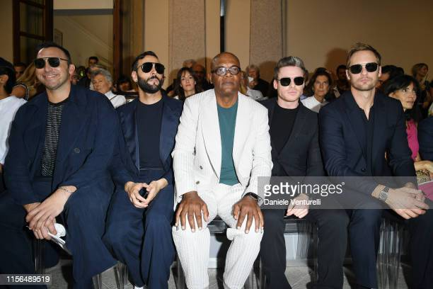 Ian Thorpe, Marco Mengoni, Samuel L. Jackson, Richard Madden and Alexander Skarsgård attend the Giorgio Armani fashion show during the Milan Men's...