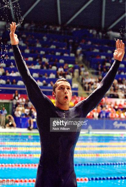 Ian Thorpe of Australia celebrates after winning the Gold in the Men's 400m Freestyle Final September 16 2000 at the Sydney 2000 Olympic Games in...